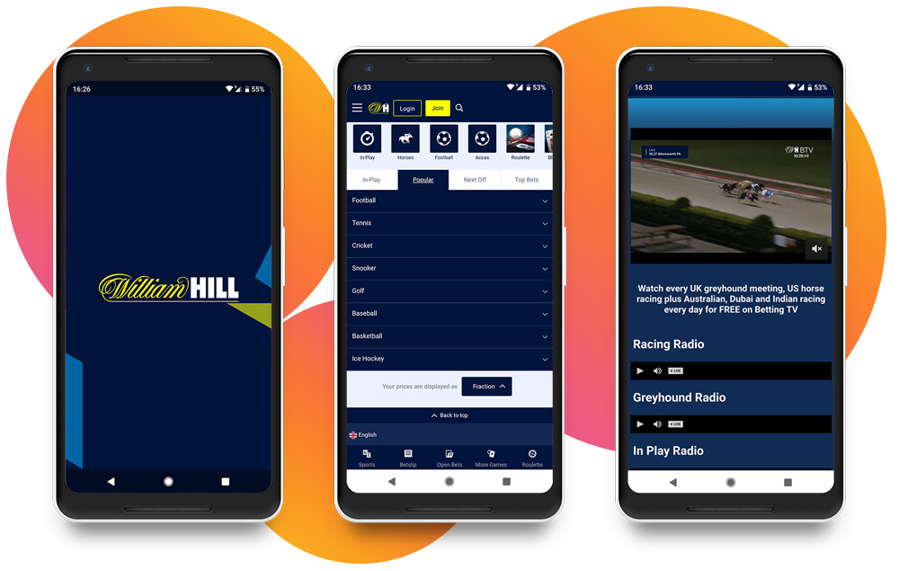 William Hill movil app para todas las plataformas.