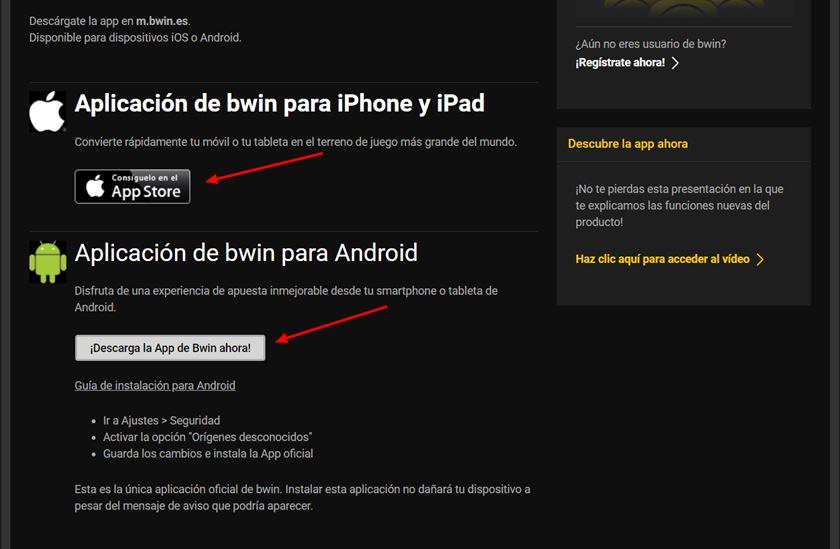 Cómo descargar Bwin app.