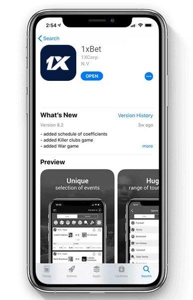 1xBet App: iOS versión.